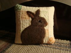 PRIMITIVE RABBIT ON ANTIQUE QUILT PILLOW ~ ORIGINAL FOLK ART