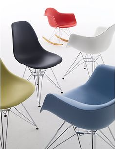 Eames Molded Plastic Chairs, designed by Charles and Ray Eames for Herman Miller.