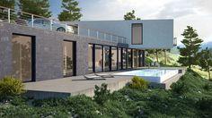 Ideas de #Exterior, Jardin, Piscina, estilo #Moderno color  #Gris,  #Gris,  #Negro, diseñado por Arquitectos Madrid 2.0  #CajonDeIdeas