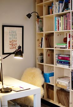 Study space. Makeshift • Eat Darling Eat - note - school books and files in bookshelf