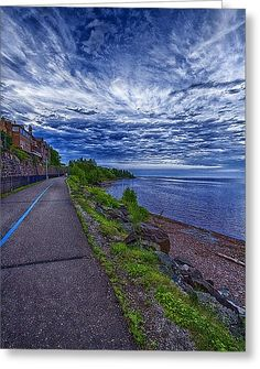 Duluth Lake Superior Trail Greeting Card by Linda Tiepelman
