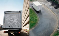 Illustrations drawn with layer of dirt on truck doors capture eye balls on the road