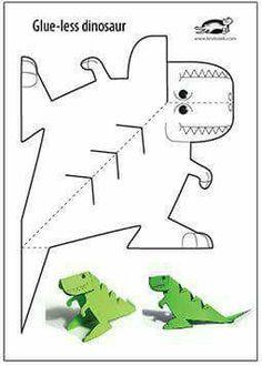 Glue-Lee printable dinosaur - Kinder Basteln - crafts home Dinosaurs Preschool, Dinosaur Activities, Preschool Crafts, Preschool Activities, Crafts For Kids, Arts And Crafts, Children Crafts, Children Activities, Dinosaur Crafts Kids