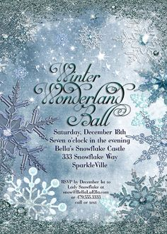 Winter Wonderland Party, Winter Snowflake Invitation, Winter Party Invitation…