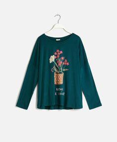 Camiseta macetas flores - OYSHO