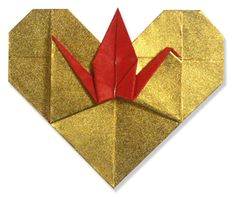 Origami heart with crane...hard to do but very pretty when completed.