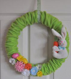 Items similar to Handmade Flowers Fleece Felt Easter Wreath on Etsy. , via Etsy.