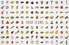Food Icons Clip Art - hand drawn clipart, foodie i - Cocteles Bebidas Images Kawaii, Food Doodles, Drink Icon, Drawing Clipart, Food Icons, Food Drawing, Vegetable Drinks, Menu Restaurant, Creative Sketches