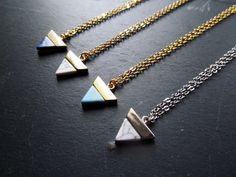 A simple but elegant triangle necklace made with howlite gemstone in your choice of colors - white, lapis blue ( dark blue) , turquoise , and white marble. This necklace is a great modern design and can be custom made long or short. Marble Necklace, Raw Crystal Necklace, Gemstone Necklace, Turquoise Necklace, Triangle Necklace, Geometric Necklace, Arrow Necklace, Geometric Jewelry, Minimalist Necklace
