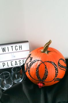 BOOS Pumpkin  Pumpkin plus boxed wine plus some adhesive letters will be sure to impress your guests!