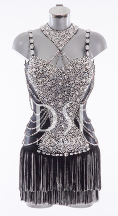 Black Latin Dress as worn by Pixie Lott on Strictly Come Dancing 2014. Designed by Vicky Gill and produced by DSI London
