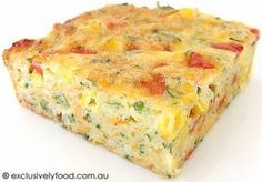 This savoury slice is based on our zucchini slice. We omitted the bacon, reduced the amount of zucchini and added extra vegetables and flav. Zucchini Vegetable, Vegetable Slice, Zucchini Slice, Quiche Recipes, Vegetable Recipes, Vegetarian Recipes, Cooking Recipes, Healthy Recipes, Creamy Tuna Pasta Bake