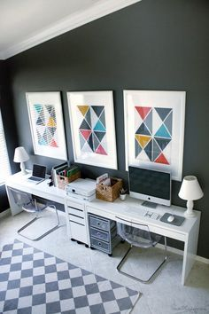 Home office and play area in one — Ikea Micke desks ($69.99), Tobias chairs, and Benjamin Moore Kendall Charcoal gray walls