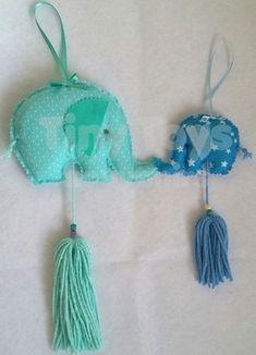 30 elefantitos souvenirs de tela + elefante central grande