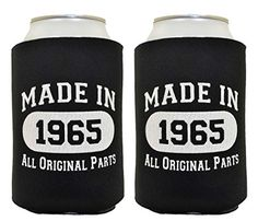 50th Birthday Gift Coolie Made 1965 Can Coolies 2 Pack Black