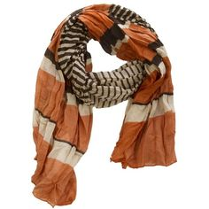 Striped Crinkle Scarf ($15) ❤ liked on Polyvore featuring accessories, scarves, bohemian scarves, striped scarves, crinkle scarves, striped shawl and boho scarves