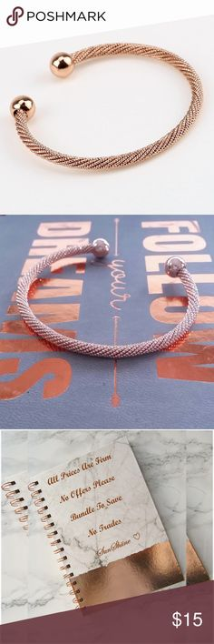 Rose Gold Beaded Popcorn Chain Cuff Bracelet Flexible Popcorn Chain Jewelry Bracelets
