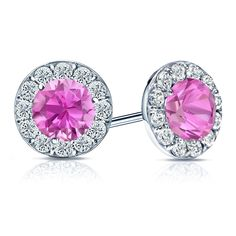 Halo set Pink Sapphire Diamond Earrings will make an elegant statement for any occasion https://www.diamondstuds.com/round-pink-sapphire-gemstone-earrings-pid-GPS300-71.html?category_id=33