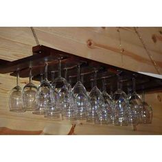 American Metalcraft X Walnut Bar Wine Glass Hanging Rack for sale online