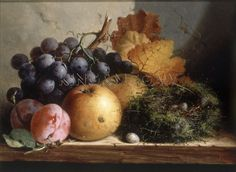 Still Life with Grapes, Apples, Plums and a Birds Nest Art Print by Edward Ladell at King & McGaw