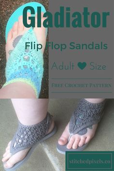 I love flip flops, I even wear them in the winter (in Northern Ontario). They are just so perfect to slip on and go, not having to worry about socks. But a few years ago, I got a new car, and its standard. I really struggle to drive standard with flip flops on, so this is my solution! With the better coverage and the ties in the back, the sandals stay on my feet better and make driving easier. They are the perfect mix of quick and easy and comfort. I hope you enjoy this pattern.