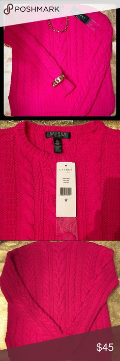 "BOGO🎁HP!!🎁LAUREN LR CABLED SWEATER 🎀50% of the sale will go to a breast cancer fighter!!🎀This sweater in ""cour pink"" will brighten the gloomiest day! Heavy-gauge 60% cotton/40% acrylic feels wonderful and will keep its shape. Split hem and slightly dropped shoulders update a classic LRL look. Extra yarn included. 21"" front; 21.5"" back; 20"" sleeve; 18"" armpit-to-armpit. 🎀CHECK OUT @suelee16 FOR MORE PINK LISTINGS!🎀 Lauren Ralph Lauren Tops"