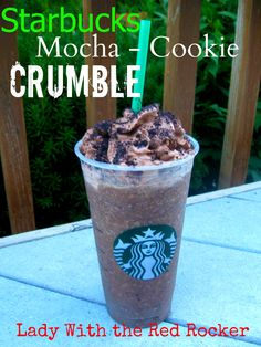 Mocha Cookie Crumble Frappucino  1 cup strong coffee (I used decaff)  ¼ cup flavored creamer (I used International Delight – Cold Stone Creamery Sweet Cream)  1 Tbsp chocolate syrup  3 Tbsp mini chocolate chips, chopped  3 Oreos, crushed  1-1½ cup crushed ice  Chocolate whipped cream (optional, but not really…)  Cookie crumbs (optional, but yet again, not really…)