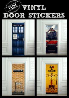 Fun Vinyl Door Stickers - easy to apply and remove!