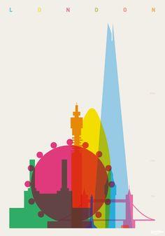 Arte e Arquitetura: Cartazes Coloridos nos Apresentam a Silhueta das Cidades,Londres © Yoni Alter