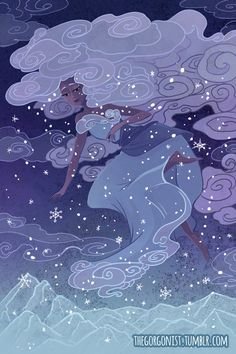 Snow Sprite 8x12 fantasy art print by theGorgonist on Etsy https://www.etsy.com/listing/220692225/snow-sprite-8x12-fantasy-art-print