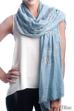 - women fashion oblong scarf - embroidery scarf - 50% Cotton, 50% Polyaster