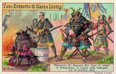 Minamoto To Kugawa Sne Jasu al campo di Sekigahara, 1894 Warfare, Trading Cards, Warriors, Samurai, Oriental, Arms, Advertising, Comic Books, Chinese