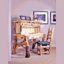 "Come see our unique ""Funky Legged"" Aspen log desk and hutch."