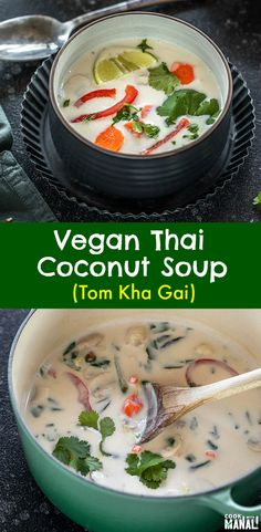 The vegan version of the popular Thai Soup! This Vegan Tom Kha Gai is packed wit The vegan version of the popular Thai Soup! This Vegan Tom Kha Gai is packed with veggies and has tons of flavors sweet tart & spicy! So comforting! Source by cookwithmanali Spicy Recipes, Asian Recipes, Whole Food Recipes, Vegetarian Recipes, Cooking Recipes, Healthy Recipes, Healthy Soups, Keto Recipes, Healthy Chicken