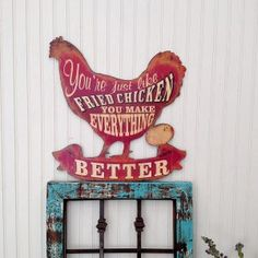 Vintage Restaurant Fried Chicken Sign, Wall Decor, Retro Decor, Diner Decor 1