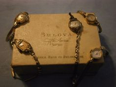 5 Vintage Ladies Watches Elgin Bulova Hamilton Geneva Bulova REPAIR PARTS AS IS #Mixed