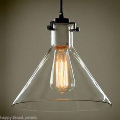 INDUSTRIAL GLASS CONE pendant ceiling light for Edison Filament Light Bulbs E27 $108