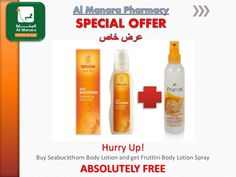 Hurry Up! Buy #Weleda Seabuckthorn #BodyLotion and get #Fruttini Body Lotion Spray ABSOLUTELY #FREE. Offer is Available for a limited time period at #YASMall and Deer Fields #AbuDhabi #UAE