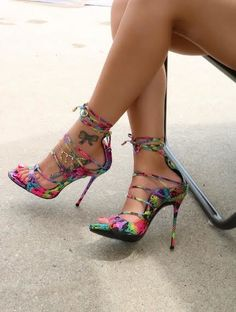 Multi-color Strappy Sandals Lace up Stiletto Heel Sexy Shoes Hot High Heels, Platform High Heels, High Heel Boots, Shoe Boots, Shoes Heels, Cute Heels, Lace Up Heels, Mode Shoes, Fashion Heels