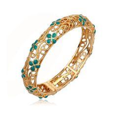 18K Gold plated bracelet with Emerald stones-CJBAN03A  http://www.craftandjewel.com/servlet/the-1884/18K-Gold-plated-bracelet/Detail