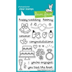 """Happy Wedding Clear Stamps • Lawn Fawn Clear Stamps 4""""X6"""" (LF887) by myrubberstamp on Etsy https://www.etsy.com/listing/270108645/happy-wedding-clear-stamps-lawn-fawn"""