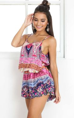Juju playsuit in pink print Produced By SHOWPO