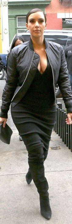 Kim Kardashian: Dress – Alexandre Vauthier  Jacket – Commes DeGarcons  Shoes – Alexander Wang  Purse – Bottega Veneta