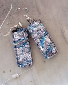 Dichroic Earrings Glass Fused Jewelry Silver Aqua by myfusedglass, $16.00