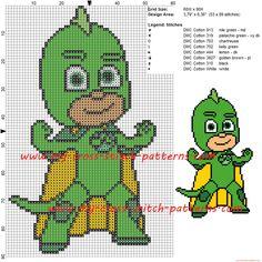 Gekko (Pj Masks) cross stitch pattern