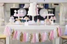 pink and gold party garland tassel