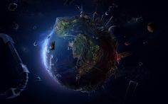 3D view abstract blue outer space stars world futuristic Earth DeviantART maps The Lost World space station Blue Moon  / 1920x1200 Wallpaper