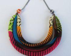 Púrpura collar-joyas de impresión africana coloridas hebras