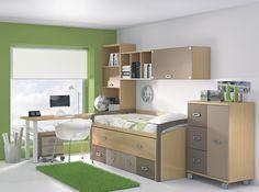 Dormitorio juvenil en verdes y marrones