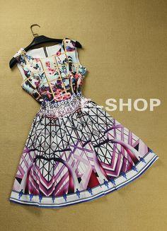 Aliexpress.com : Buy Free Shiping Runway Vintage Dress 2013 Women's Fashion Sleeveless Elegant Print Casual Dress from Reliable short dress suppliers on Top Fashion Wear.